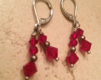 SALE Vintage Earrings Red Crystal Dangle Costume Jewelry