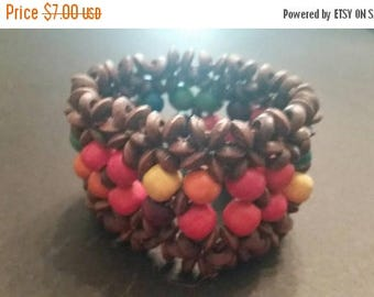 SALE Brown and Colorful Wood Flower  Bead Bracelet Boho Tribal Stretch Jewelry