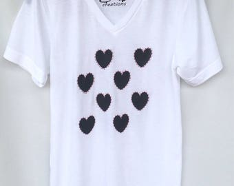 Valentines Black and White Hand Stitched Hearts Tshirt. Valentine's Day Love Unisex White Tshirt . Gift Friendly .