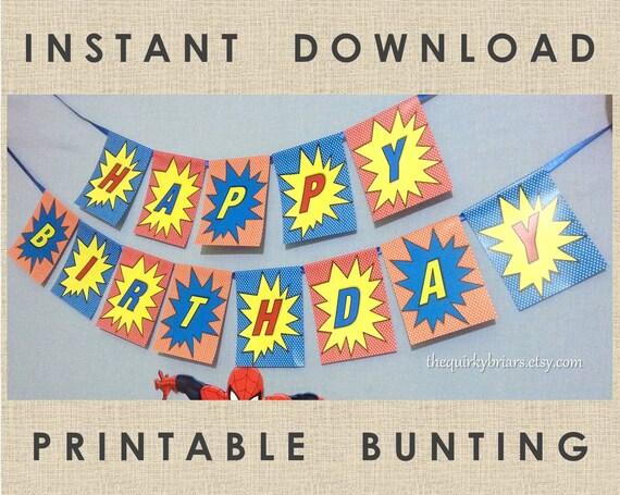 Printable Superhero Happy Birthday Banner Comics Inspired DIY