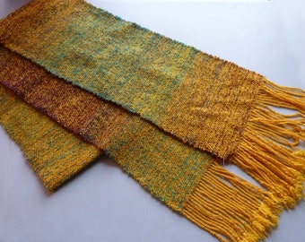 Handwoven Table Runner - Gold-Maroon-Teal
