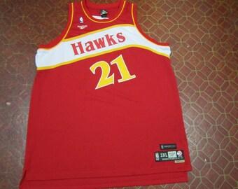 b7f225caa ... Atlanta Hawks DOMINIQUE WILKINS 21 Reebok Hardwood Classics Sewn Jersey  Mens Size 3XL XXXL ...