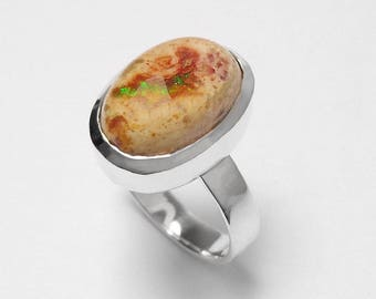 925 Sterling Silver Mexican Fire Opal Gemstone Ring