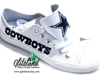 Dallas Cowboys White Canvas Low Tops Tennis Shoes