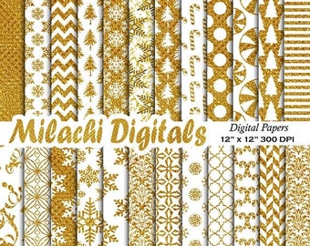 60% OFF SALE White and Gold Christmas digital paper, holiday scrapbook papers, snowflake wallpaper,  polka dot background - M602