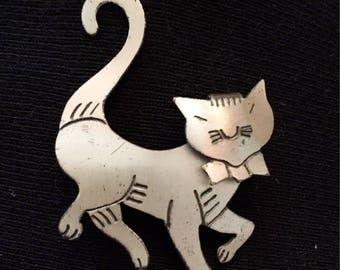 Danecraft Sterling Cat Brooch / Pin