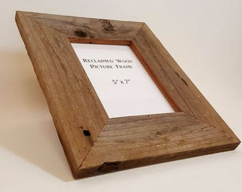 5x7 Reclaimed Wood Frame, Recycled Old Wood Frame, Weathered Wood Frame