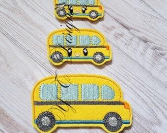 School Bus Feltie Kawaii School Bus Feltie Earth Globe Nerdy Embroidery File