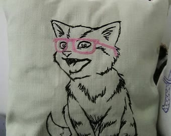 Embroidered laughing cat in glasses cushion
