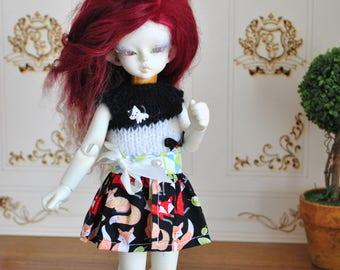 BJD, YOSD, / outfit, skirt and top, fox, cute