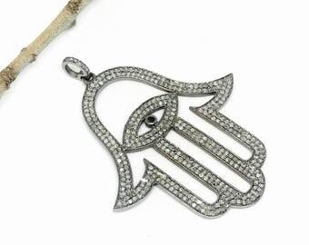 Pave diamond hamsa, shemoni, hand, evil eye pendant set in antique finish Sterling silver (92.5). Length- .Genuine authentic diamonds.
