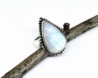 10% Rainbow moonstone ring set in Sterling silver 925. Size -8. Natural authentic rainbow moonstone .