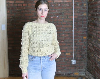 80's Vintage || Hand Knit Cream Pale Yellow Pompom Long Sleeve Sweater || 0472