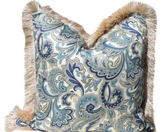 Blue  Paisley Pillow Cover  with Bronze Brush Fringe. Traditional Paisley Pillow Cover with Brush Fringe.