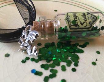 Dragon Enchantment miniature glass bottle pendant necklace