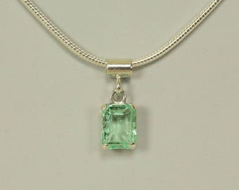Natural Colombian Emerald in Sterling Silver Pendant