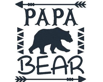 Papa Bear Machine Embroidery Designs Bear Embroidery Design Country Embroidery Filled Stitch Animal Design Instant Download