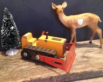 Vintage Bulldozer Toy, Wood and Metal Bulldozer Toy, Wood Toy, Toy Bulldozer