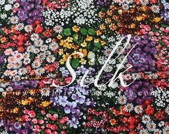 Garden fabric colorful flowers silk crepe by the yard - achat crepe de soie au metre