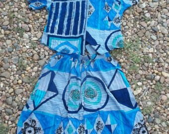Vintage • Tumbleweeds Abstract Southwestern Clothing Set | Top  Blouse Skirt Retro Ladies Size Large XL L Native American Blue Green | USA