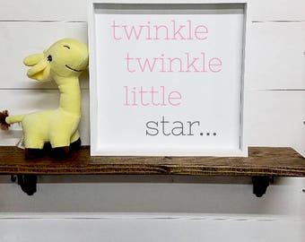 Twinkle Twinkle Little Star- Framed Wood Hand Painted Sign-Nursery Art- Country Nursery Decor- Nursery Rhyme- Song Lyrics- Kids Room Art