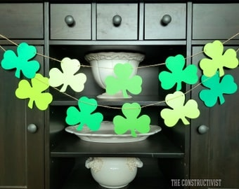 St. Patrick's Day 》SHAMROCK《 Garland/Banner/3 Leaf Clover/Lucky/Photoshoot/Party Supplies/Decor