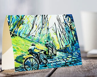 A5 Card | Cyclists going up a cobbled street. BLUE RIDERS