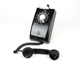 Meticulously Refurbished and Restored Fully Working Stromberg Carlson Rotary Dial Model 1553 Wall Phone with Chrome Dial Pad - Black