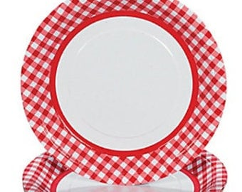 24/ Red Picnic Party Dinner Plates  / Gingham / grilling / Grilling party plates/ Summer Plates / Summer