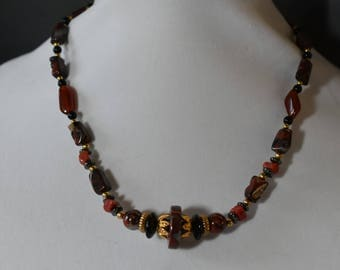 Carnelian and red jasper stone necklace