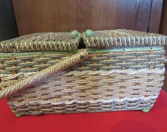 Vintage Granny Sewing basket with Handle