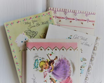 Cute Vintage GET WELL CARDS Assorted Unused, Vintage Scrapbooking Ephemera, Retro Kitsch