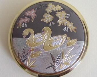Vintage Swans with Cygnets Japanese Chokin Powder Compact