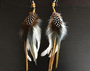 Feather earrings, feather extension, festival earrings, bohemian earrings