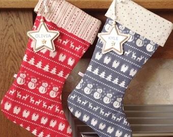 Christmas Stocking, Scandinavian Christmas Stocking, Personalised Christmas Stocking. Luxury Christmas Stocking *FREE NAME TAG* Nordic