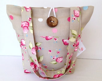 Tote Bag, Taupe Strawberries Tote Bag, Small Lunch Bag, Small Tote Bag, Small Tote, Gift for Her, Fold Up Bag, Shoulder Bag, Gift for Her