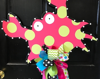 SHIPS NOW!!!   Funky Crab Door Hanger, Door Decoration