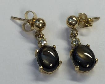 Vintage 14k Yellow gold Black Star Sapphire and Diamond Pierced Dangle Earrings