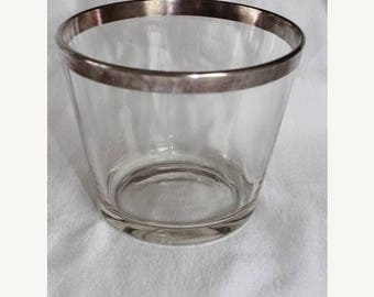 Summer Clearance Sale Vintage Mid Century Dorothy Thorpe Silver on Crystal Ice Bucket