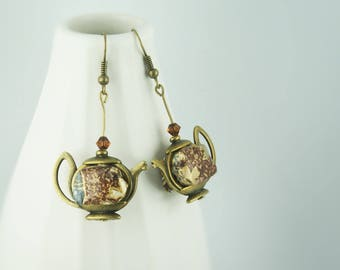 Origami paper earrings, grey and Brown teapots