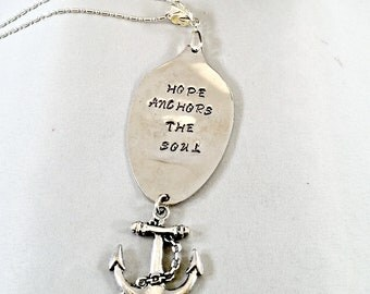 Scripture Necklace Jewelry, Spoon Jewelry , Bible Verse Necklace , Christian Jewelry for Women, Inspirational Hope Jewelry  gift for her