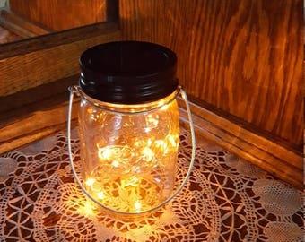 July Sales Event Mason Jar Solar Lid Light - Orange - Angel Lights - Firefly Lights - solar mason jar, mason jar light, fairy lights, mason