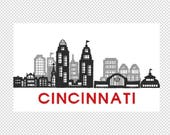 Cincinnati- City Skyline - Ohio - Embroidery Design File - multiple formats - 2 sizes- instant download
