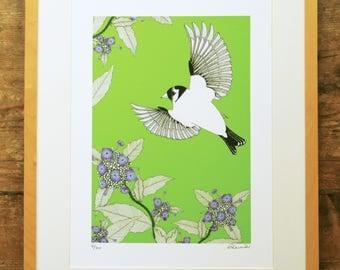 Goldfinch & hydrangea limited edition A3 print