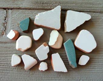 Genuine Sea Pottery, 15 Beach Pottery Shards, Mosaic Pieces, Sea Ceramic, Sea Clay ,