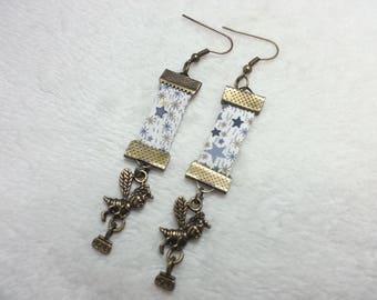 Earrings grey Liberty bee & honey