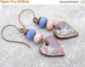 On Sale Heart Earrings, Ceramic Earrings, Czech Glass Earrings, Blue Earrings, Pink Earrings, Faceted Rondelle Earrings, Beaded Earrings.