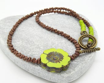 Pansy Necklace, Floral Necklace, Flower Necklace, Czech Glass Necklace, Chocolate Necklace, Lime Necklace, Chartreuse Necklace, Handmade.