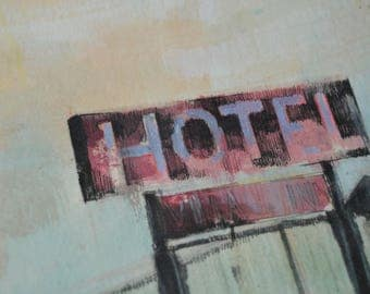 WAUPACA MOTEL / Framed Original Mixed Media Drawing