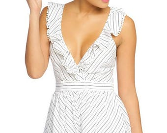 striped ruffle romper with an x shaped back